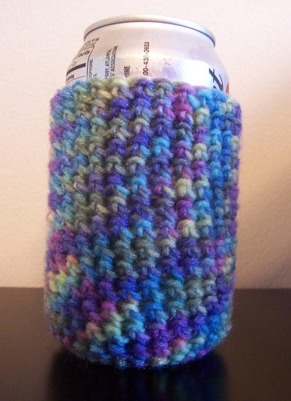 crochet can koozie watercolor multi by EarlyBirdCrafts on Etsy