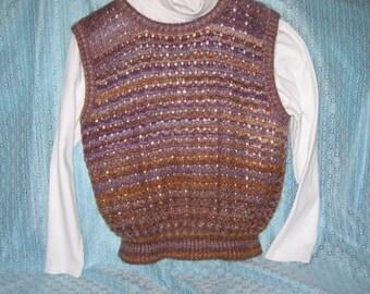 Varigated Brown Gold Fuzzy Vest Ladies Large
