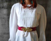 Vintage 80s White Preppy Long Sleeve Pleated Bodice Blouse Top (SIZE LARGE) AKA The Library Blouse