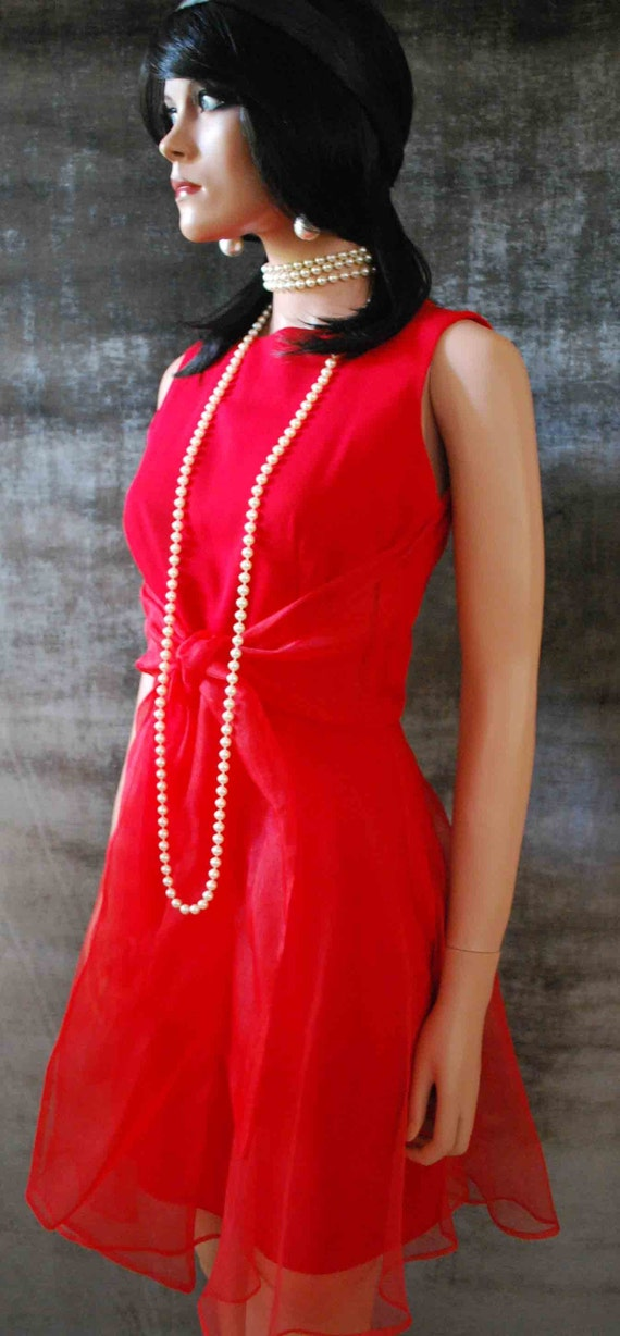 Vintage 80s Red Mini Dress With Chiffon Bow, Tank, Cocktail, AKA The St. Valentines Day Dress (SMALL/X-SMALL)