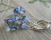 Earrings of Blue----Glass Swirl Marbles