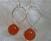 Peach Stone Earrings, Silver Sculpted Wire with Stone, Beaded Swirls of Silver, Summer Peaches, Gift for Her,