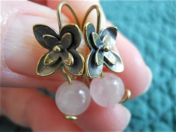 Rose Quartz Earrings  with Brass Flowers