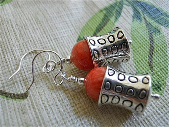 Orange Quartzite Earrings, Stone and Silver Lamps, Dyed Stone and Antique Silver, Summer Orange Dangles, Gift for Her,