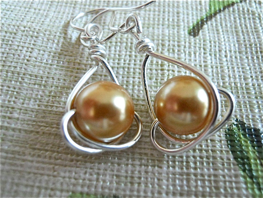 Golden Pearl Earrings And Silver Wire Wrapped Pearls Gift