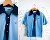 Vintage Grand Slam Penguin Bowling/ Golfing Polo Light Blue/Navy