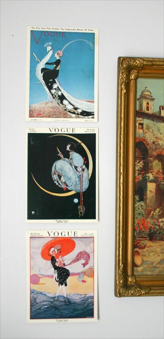 Three Mini Vintage Vogue Posters