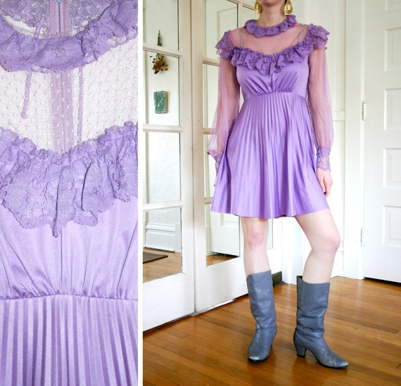 Vintage 1970s Lavender Polyester and Lace Mini Dress with Long Mesh Sleeves