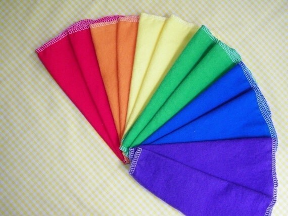 Eco-Friendly Cloth Wipes, RAINBOW Flannel Cloth Baby Wipes, Set of 48