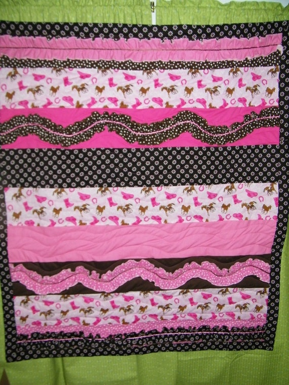 Little Cowgirl Western Quilt, Crib Quilt, Toddler Size Lap Quilt, Play Mat, Photo Prop, Ready to Ship