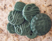 7 Assorted Green Vintage Buttons