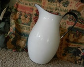 Vintage Cottage White Enamelware Sweden Pitcher Farmhouse Cottage Chic