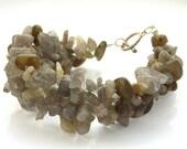 Woven bracelet labradorite gemstones
