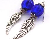 Earrings wing charm blue glass beads