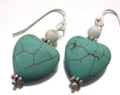Heart earrings howlite bead sterling silver