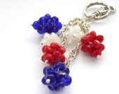 Purse bag charm keychain keyring red white and blue crystals