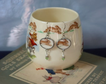"""Vintage Bunnykins Broken China Jewelry Oval Earrings """"Hopping to be in Your Heart"""""""