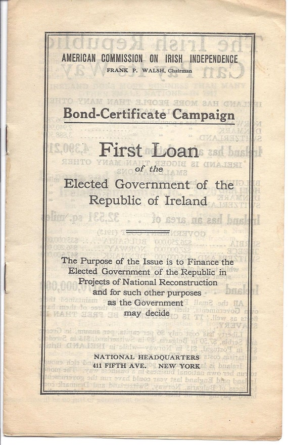 First Loan Brochure of the Republic of Ireland - 1919