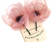 Pink bridal bobby hair pin, organza flower fascinator, peach pink tulle head piece, set of two, handmade,  customizable bridesmaids gifts
