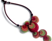 Fabric flower necklace, multicolored poppy, nature Inspired, handmade, ooak