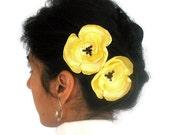 Yellow Fabric Flower Hair Pin Fascinator , Hairpins. Handmade. Head piece bobby pin -- CUSTOMIZABLE