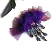 Corsage Pin Brooch Made with Purple Crochet Yarn, Tulle and Rhinestone  Charm. OOAK. Unique Handmade