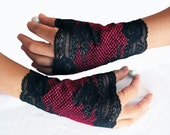 Fingerless Gloves, Black Burgundy Lace Wrist Cuffs. Handmade OOAK.