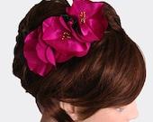 Fuchsia hair fascinator comb vintage style charm satin fabric flower head piece handmade ooak