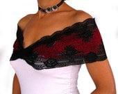 Shoulder wrap stretchy elastic lace top bridal bolero shawl black burgundy handmade ooak  unique design