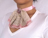 Victorian style collar pink cream laced ruffled handmade unique item