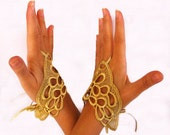 Gold Oriental Fingerless Gloves hand Fascinators. Handmade