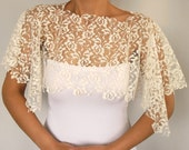 Ivory lace bridal bolero, alencon lace shrug, handmade