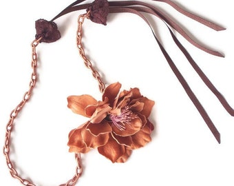Statement Necklace, Silk Fabric Flower, Camel Fiber Chain Thread, Handmade jewelry, Unique Item, Christmas Gift