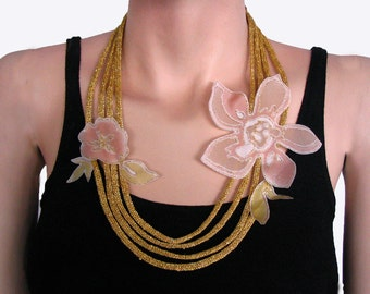 Lariat Necklace Made with Golden Cotton Thread. Ligthweight, Handmade. OOAK