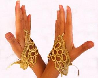 Gold Lace Fingerless Gloves, Oriental Hand Fascinators, Wrist Charms, Handlets, Handmade