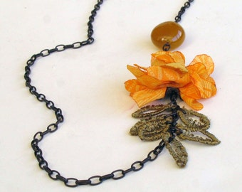 Jade Stone Floral Necklace, Chain, Yellow. Handmade. Unique Item