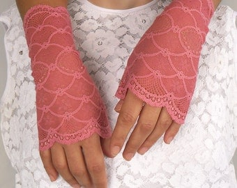 Lace Bridal Wrist Cuffs for Wedding Party Wear Prom: Made of Sugar Pink Elastic Lace. Handmade weddings