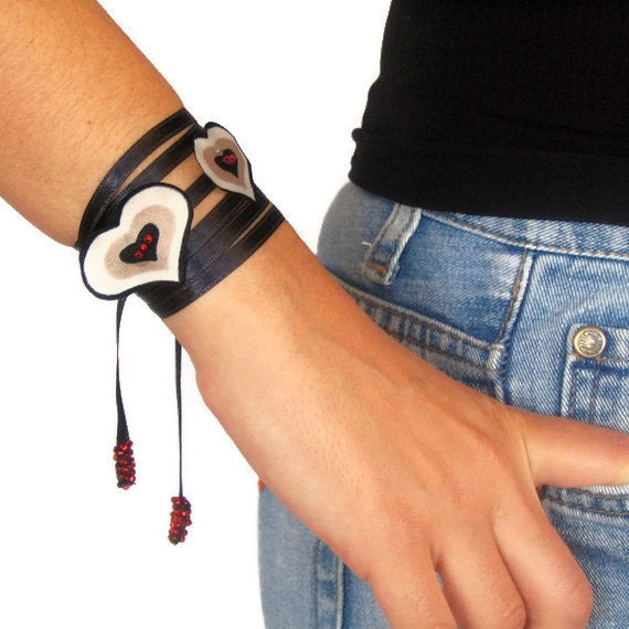 Black Ribbon Wrist Charm Thin Black Satin Multiusage Neck Charm Sash Heart Handmade Necklace Collar