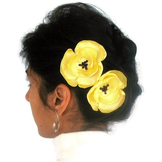Yellow Fabric Flower Hair Pin Fascinator , Hairpins. Handmade. Head piece bobby pin -- CUSTOMIZABLE