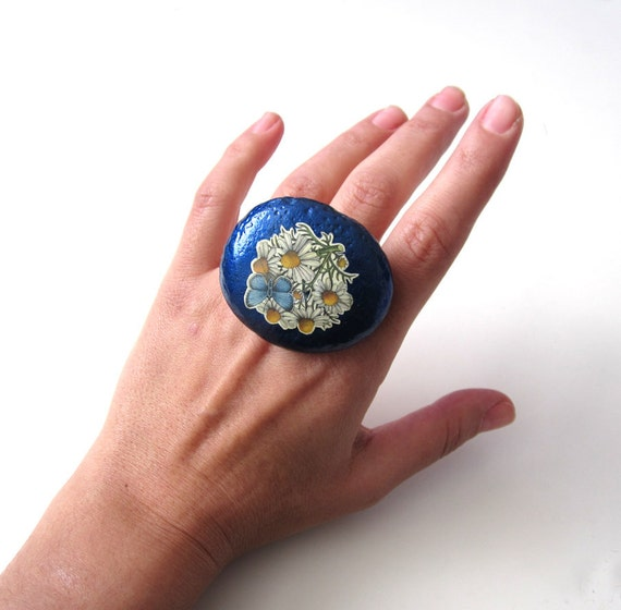 Unusual Ring in Navy Blue Colored Natural Pebble Stone: Adjustable. Handmade. OOAK