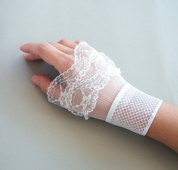 Lace frilled bridal wrist cuffs wedding prom party white elastic smart elegant romantic feminine handmade - limited