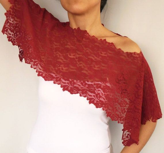 Lacy Shoulder Wrap - Bridal Bolero in Burgundy Garnet Red Lace. Handmade