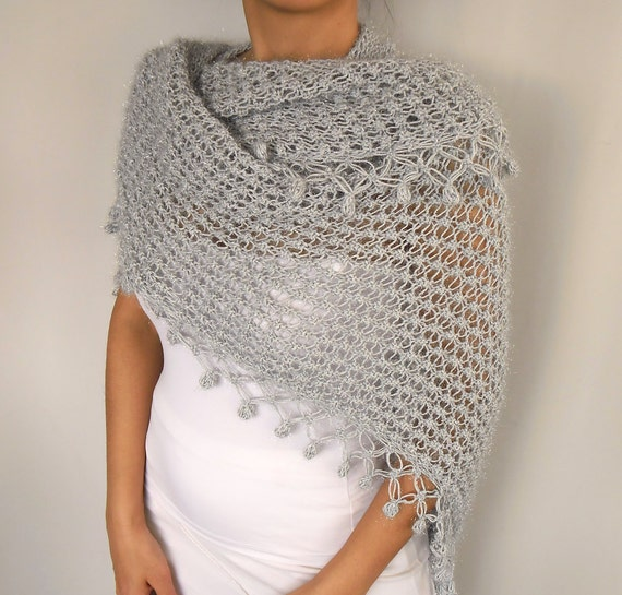 Hand Knit Shawl: Knitted with Blue Grey Yarn, Handmade