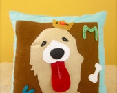 "Mr. Knightley ""3D"" felt dog throw pillow (RESERVED for Maggie)"