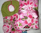 Reserved for HandmadeMN Giveaway Winner (Kym Teale) - Gorgeous Pink and Green Floral Paisley Bib and Burp Cloth Gift Set