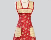 Womens Vintage Inspired Apron / Red is Beautiful Backdrop for Rose Bouquets Trimmed in Yellow and Green