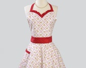 Womens Sweetheart Hostess Apron / Custom Listing GloriaOh Retro Ruffled Sweetheart Neckline Red Ruffle and Red Pink Apple Blossoms on White