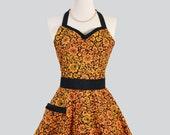 Womens Sweetheart Hostess Apron : Retro Ruffled Sweetheart in Dark Orange Floral with Black Swirls and Trim