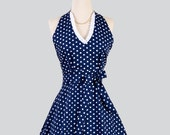 Sexy Womens Hostess - Handmade Halter Apron in Navy Blue and White Polka Dots for Nautical Pin-Up Style Flirty Apron