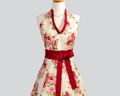 Halter Womens Apron . Cute Handmade Full Bib Kitchen Hostess Apron Vintage Rose Floral of  Rich Red Roses on Ivory